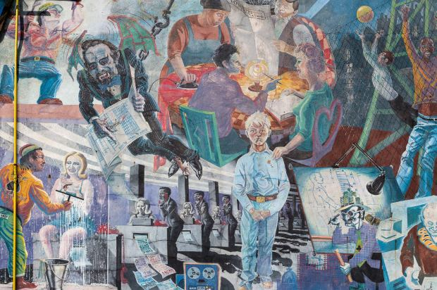 Enhanced photograph of part of a mural.