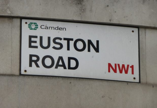 Road sign: Euston Road, Camden, NW1.