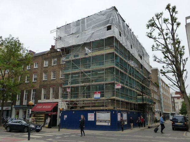 Building with scaffolding.