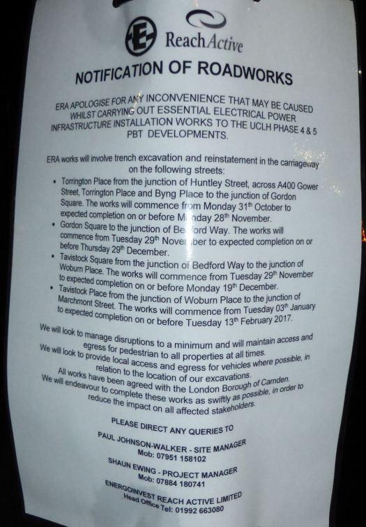 Notice of roadworks.