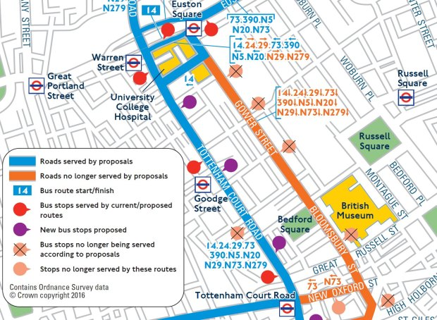 Map of bus services in Tottenham Court Road.