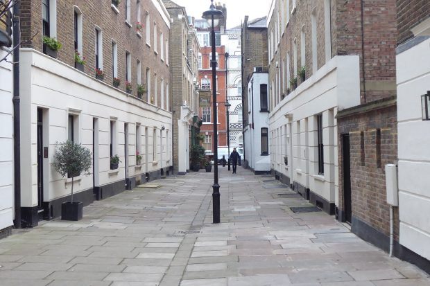 View of residential walkway.