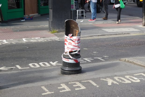 Lamp post stump.