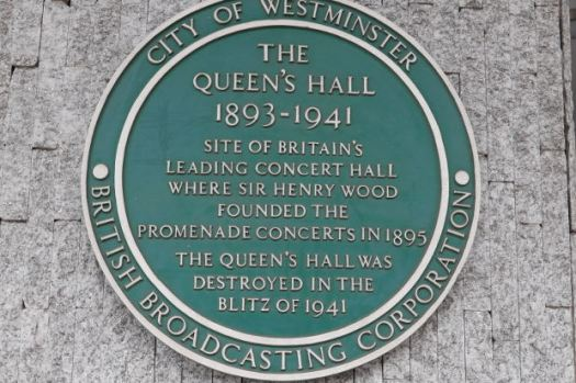 Plaque for Queen's Hall.