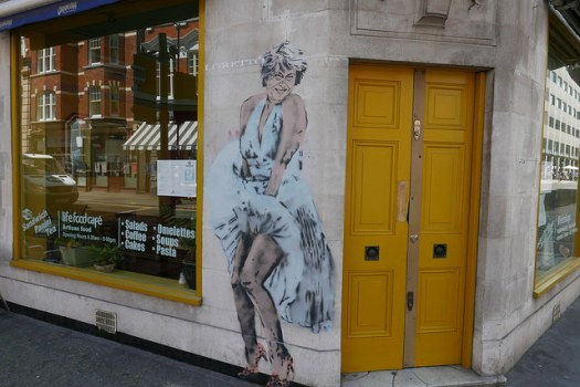 Street art painting of Theresa May as Marilyn Monroe by Loretto.