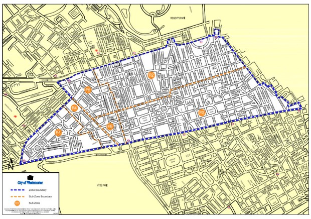 Westminster Parking Zones Map Diesel parking charges increase in Fitzrovia, Marylebone and Hyde