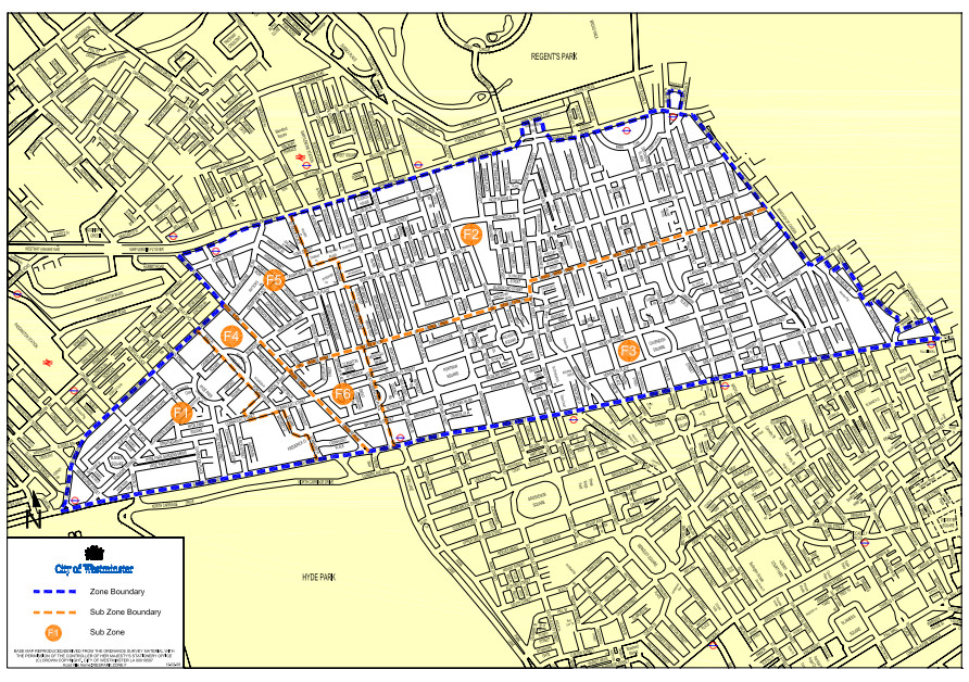 Map of parking zone f.