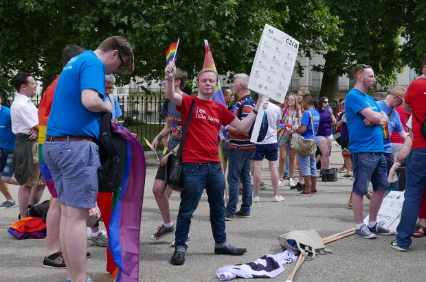Marchers from Civil Service Railnbow Alliance in Fitzroy Square.