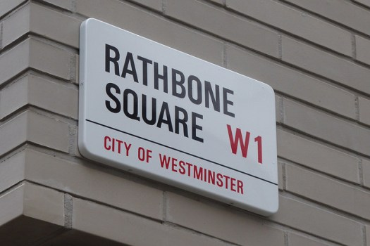 Rathbone Square sign.