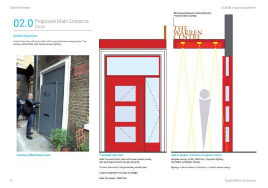 Design of entrance to The Warren Centre.