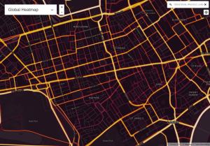 Strava heat map.