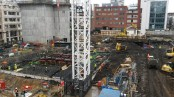 Steelwork at centre of site.