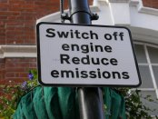 "Sign saying: ""Switch off engine. Reduce emissions."