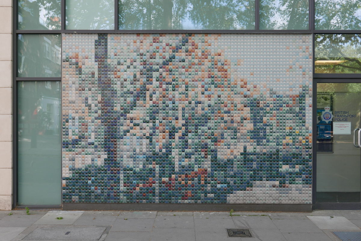 Mosaic on wall.