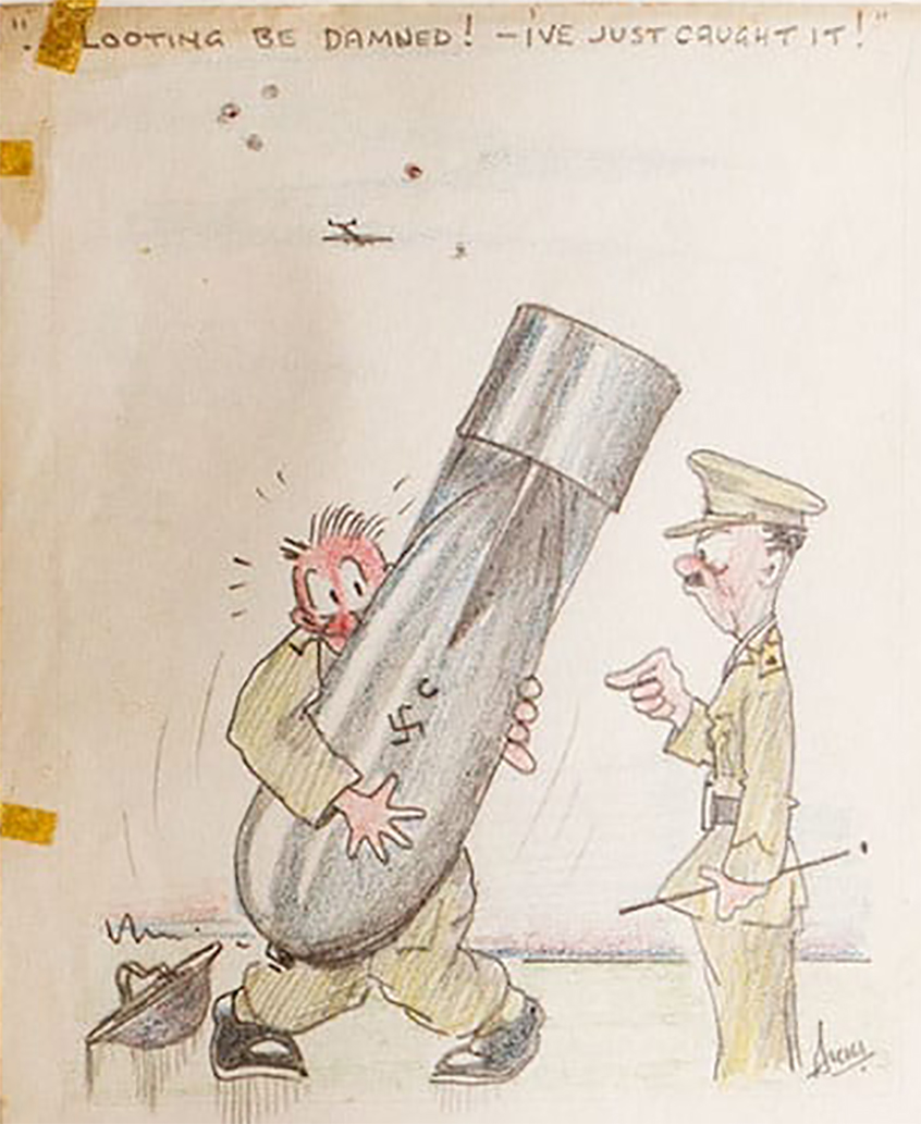 Drawing on soldier holding a bomb.