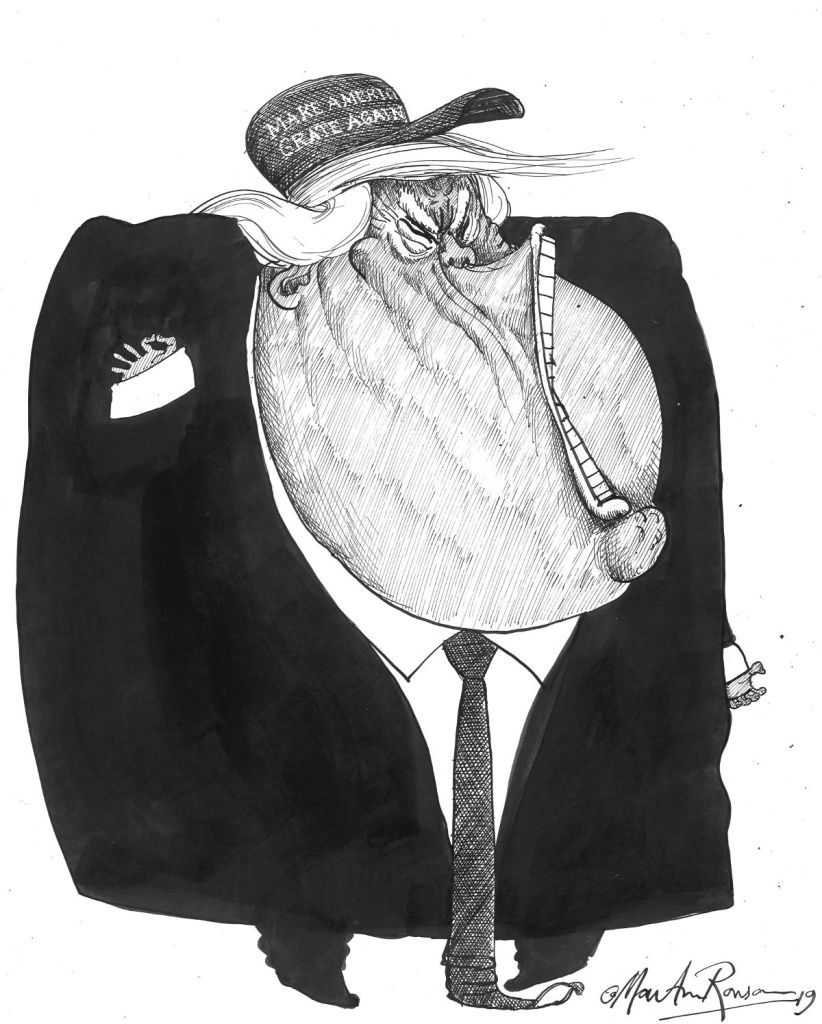 President Trump wearing Make America Grate Again cap, as portrayed by Martin Rowson
