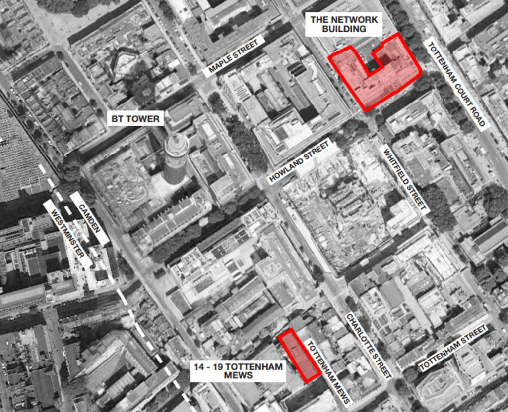 Location map showing proximity of two construction sites,