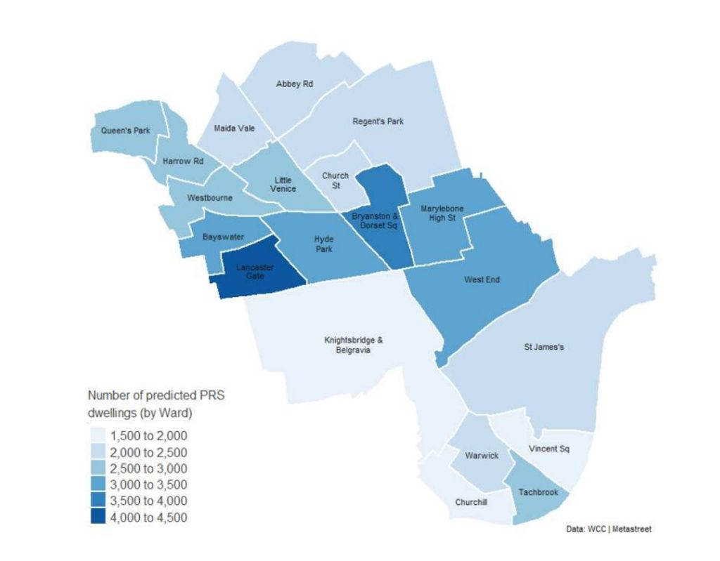 Map showing density of private rented sector in Westminster.