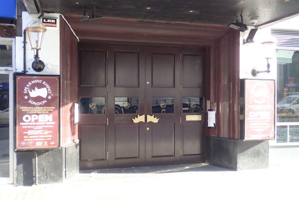 Entrance to sexual entertainment venue.